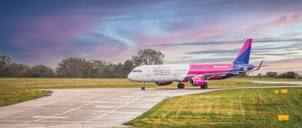 Wizz Air airplane on the runway